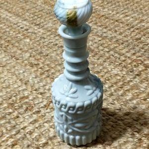 Blue Ornate Vintage Liquor Glass Bottle Vase